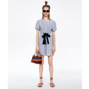 Zara Creased Effect Checked Dress with Bow